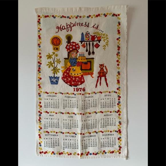 Vintage 1976 Happiness Is Linen Tea Towel Calendar